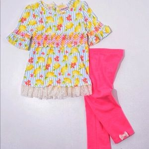 Little Lass Matching Sets - Little Lass Ruffle Lemon Print Top/Capri Leggings